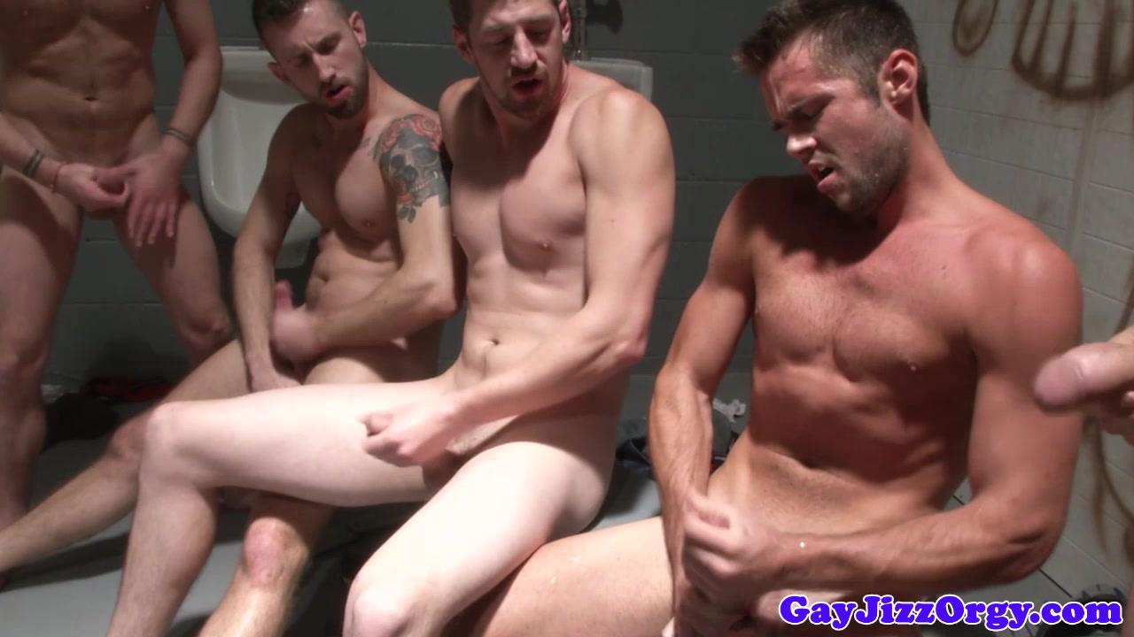 Gay group jerk off porn